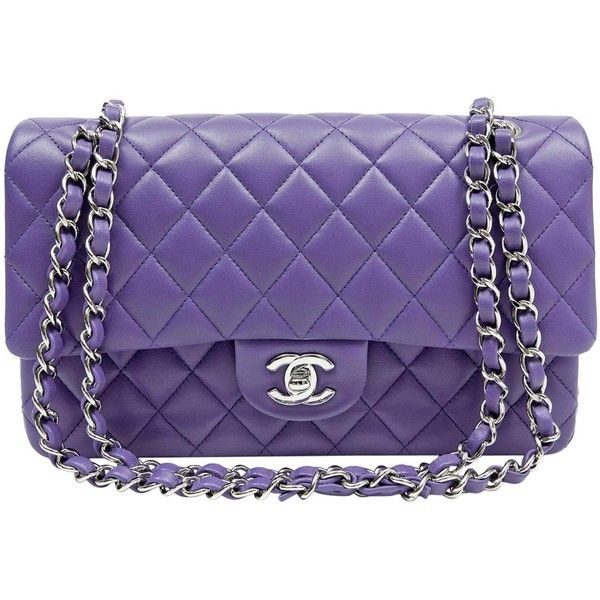 Chanel Purple Lambskin Medium Double Flap Classic Bag ($8,535) ❤ liked on Polyvore featuring bags, handbags, purple bags, lamb leather purse, chanel, purple handbags and chanel shoulder bag