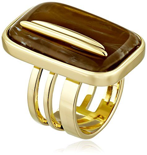 Vince Camuto Gold-Tone Cocktail Ring with Faux-Horn Center