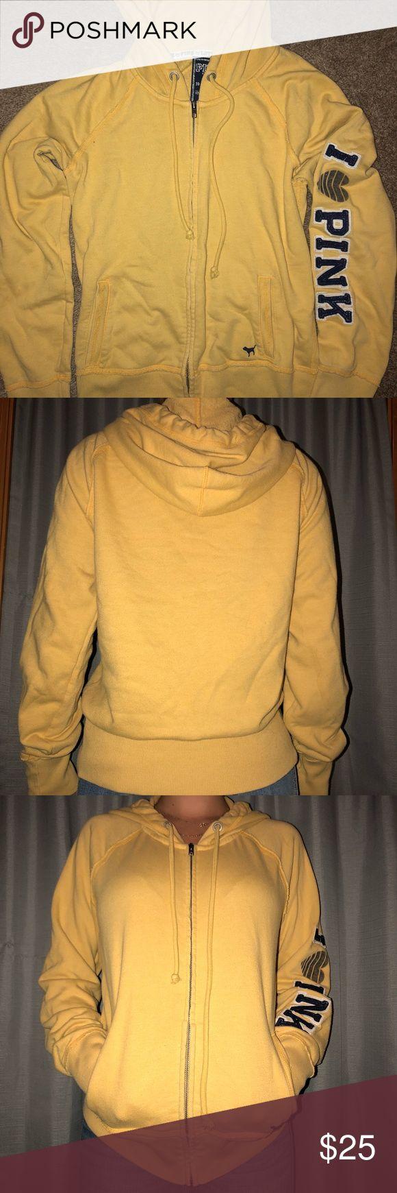 Vs PINK yellow zip up hoodie In good condition PINK Victoria's Secret Tops Sweatshirts & Hoodies