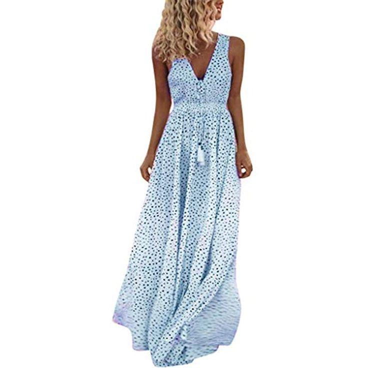 Sonntag Damen, Sommerkleider, Langes Blumenkleid, Ärmelloses Kleid mit V-Ausschnitt, Langes …   – Spezielle Anlässe  Arbeitskleidung