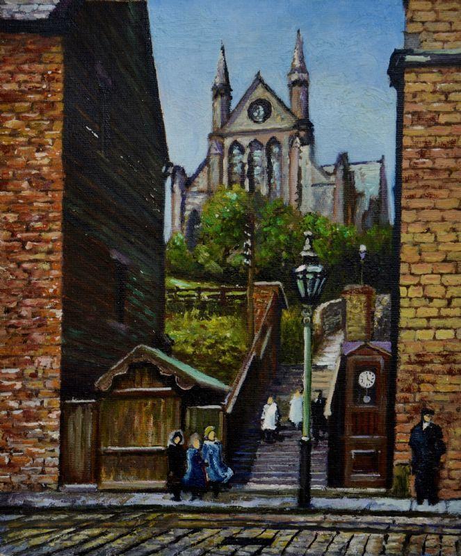 stevenbruce uk paintings   Abney Steps and Church Mossley early 20thc - steven robert ...