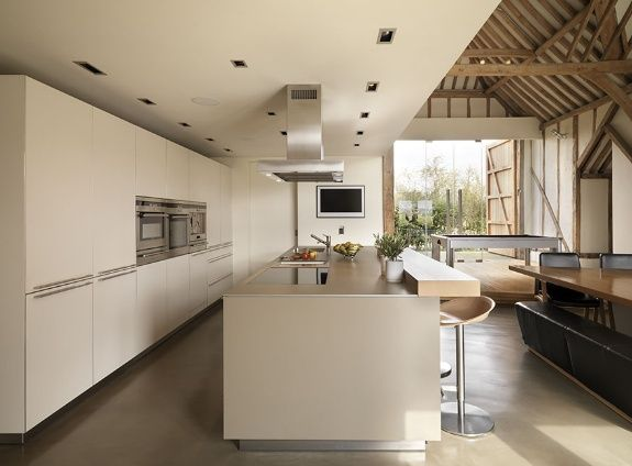 Modern rustic eco barn conversion in vale of the white for Modern barn kitchen