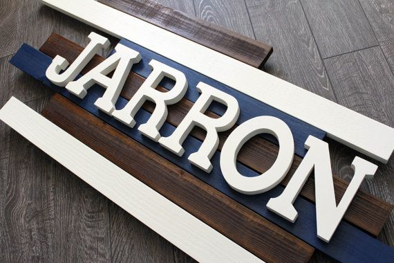 Check out this item in my Etsy shop https://www.etsy.com/listing/221106475/jarron-wooden-name-sign-wooden-nursery. #woodennameplaque #woodennamesign #custommade
