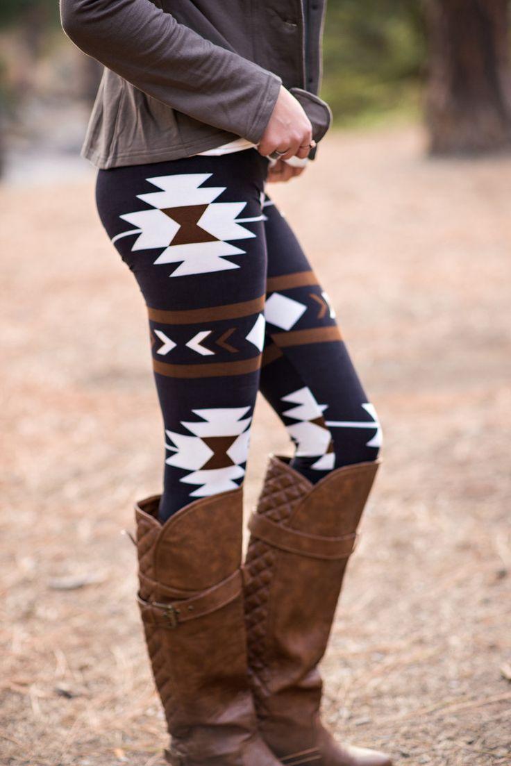 Tribal Print Leggings (Brown)