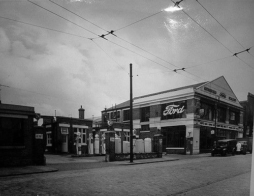 The Dagenham Motors Ford dealership and garage is shown here in 1958 and located on Canonbury Road near Compton Mews and Highbury Corner, Islington. The buildings and land are slated for development, but the proposed highrise apartments were successfully vetoed by a local conservation group to prevent any overshadowing of the Union Chapel and surrounding heritage buildings.