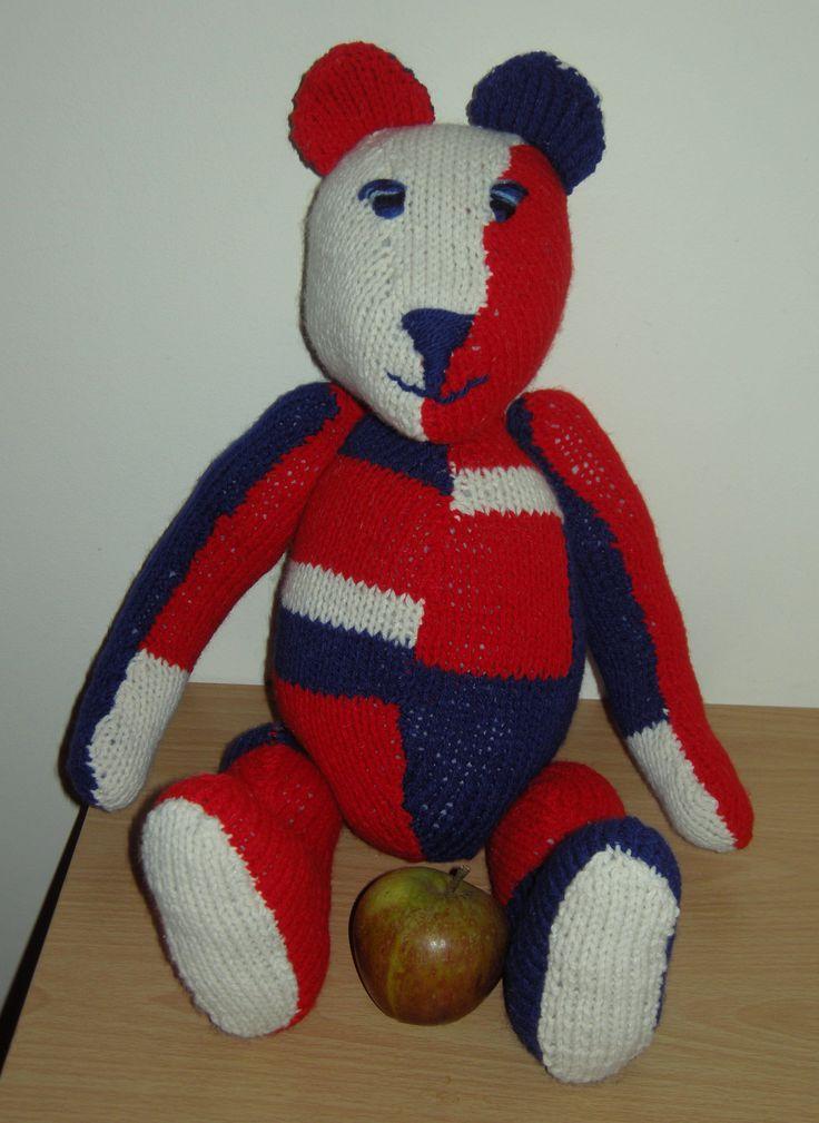 Knitted teddy bear, stuffed teddy bear