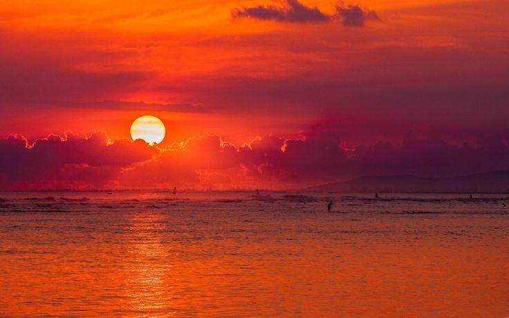 Papel de parede da Natureza : Pôr do Sol no Havai Ilha Oahu. Veja mais imagens da natureza:  https://1papeldeparedegratis.blogspot.com.br/