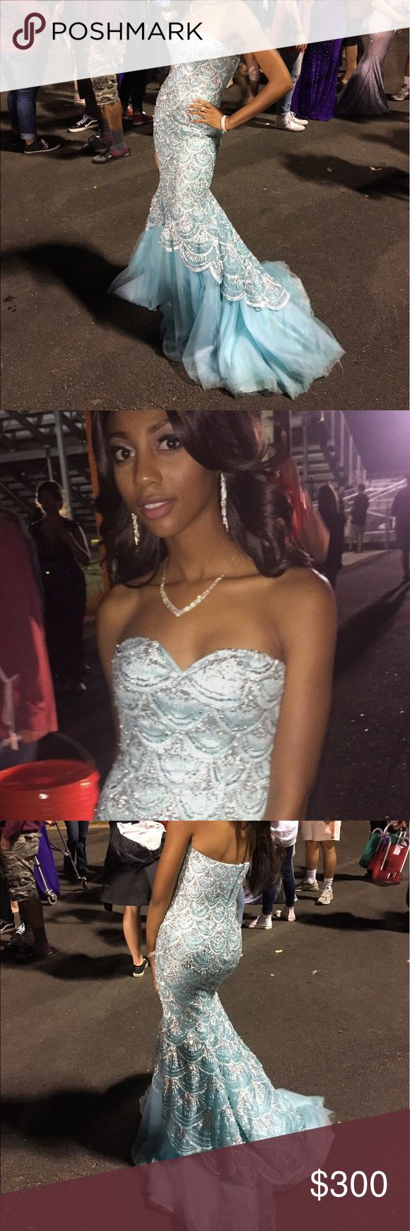 Blue Mermaid Prom Dress Blue Dress With Silver Mermaid Sequin By Sherri Hill Sherri Hill Dresses Strapless
