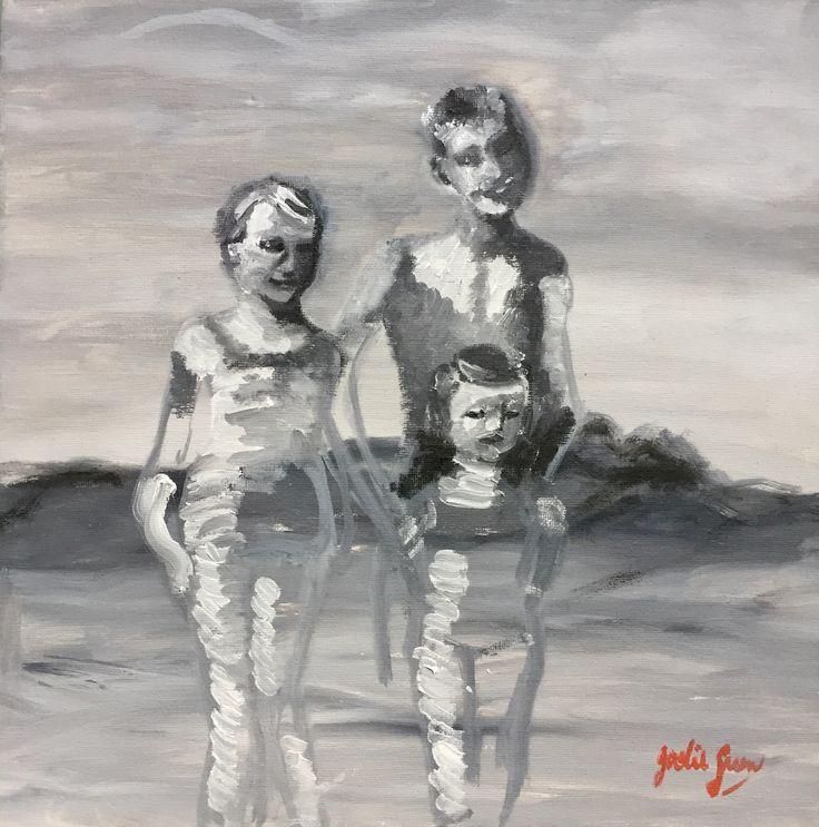 Siblings at the beach, circa 1960 #oils #painting #goldcoast