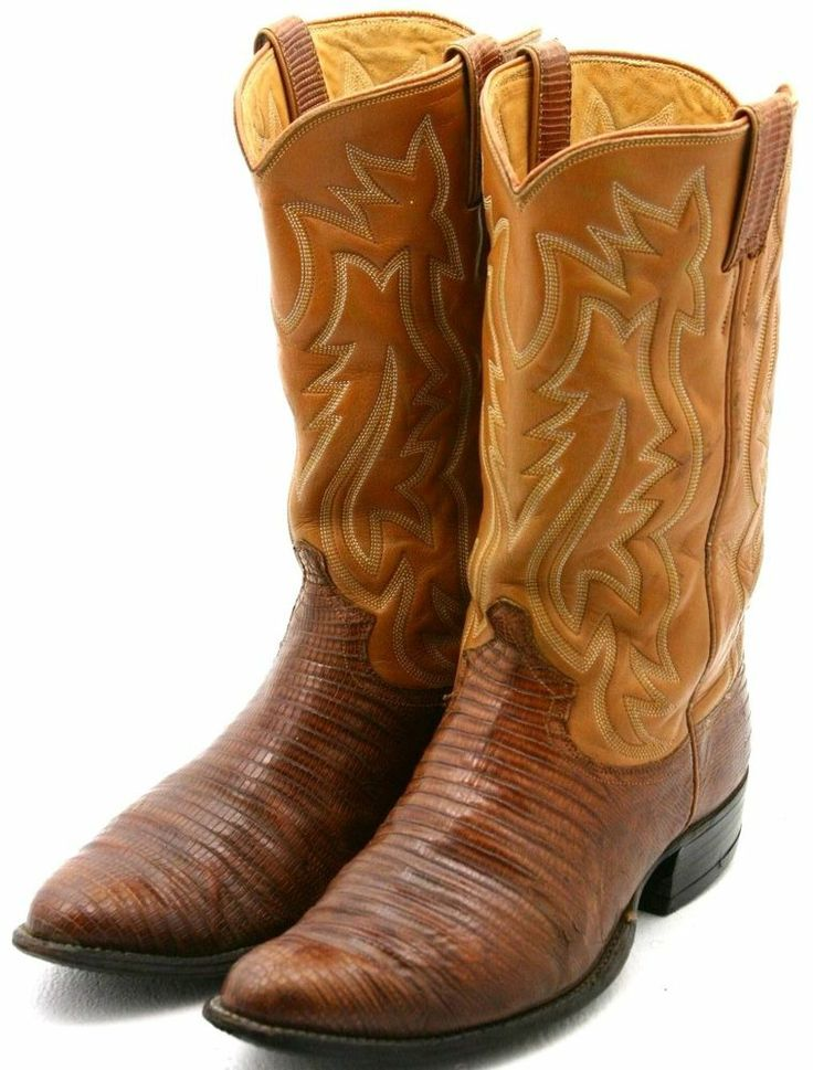justin white label mens cowboy boots size 9 5 ee orange