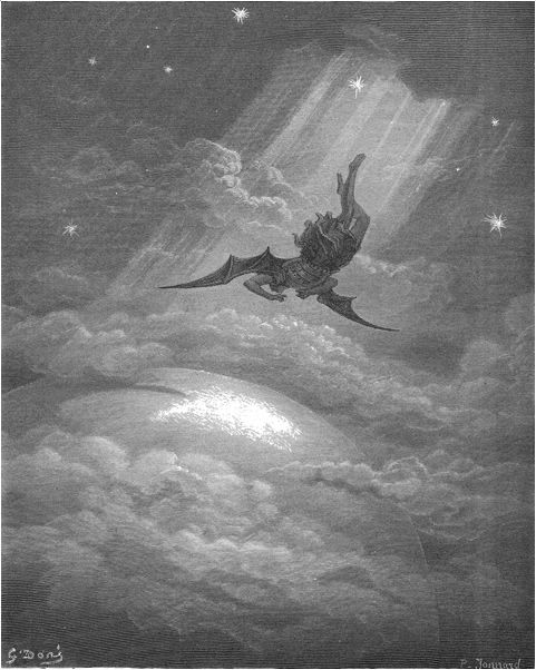 ...Toward the coast of earth beneath, Down from the ecliptick, sped with hoped success, Throws his steep flight in many an aery wheel; Nor staid, till on Niphates' top he lights. •Book III, 739–742
