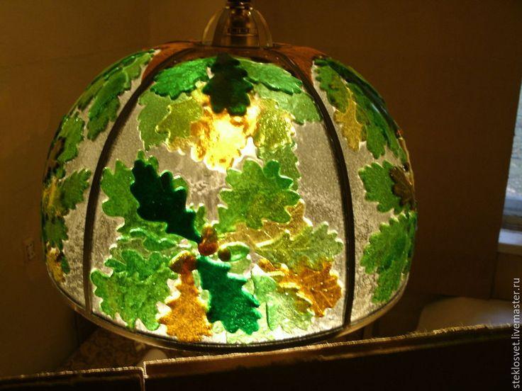 """Купить Люстра-подвес """"Дубовые листья"""" - люстра, люстра ручной работы, стекло"""