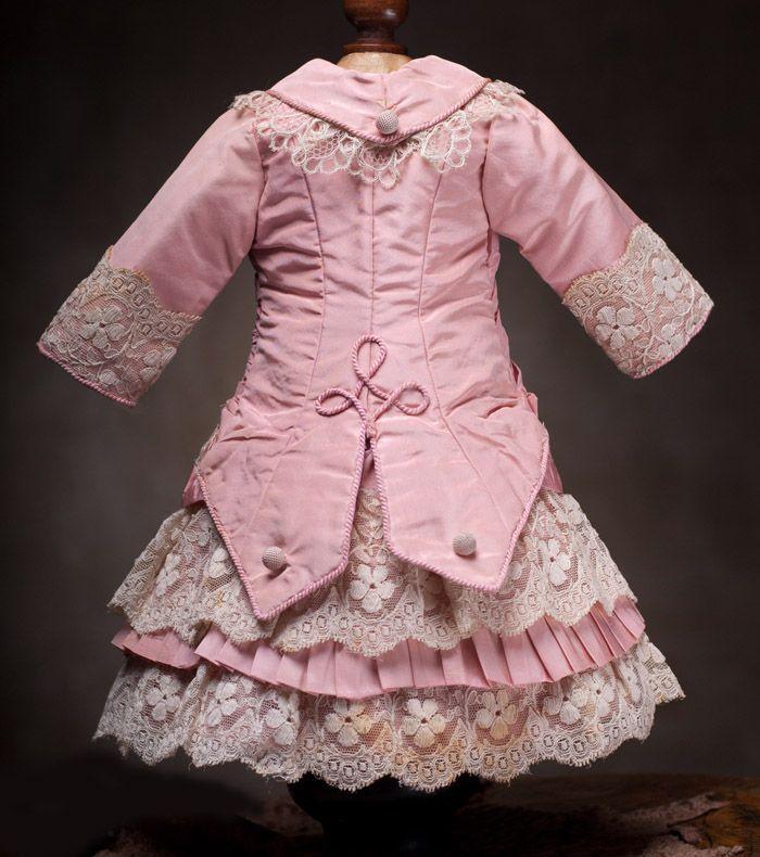 Antique French Pink Silk Dress for Jumeau Bru Steiner Eden Bebe doll from respectfulbear on Ruby Lane
