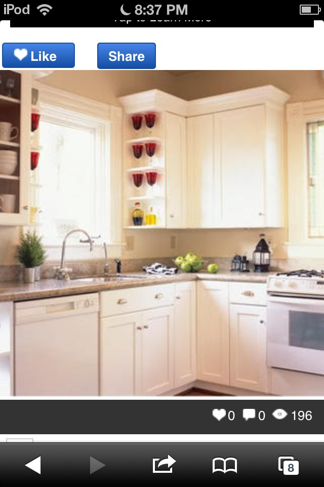 Cream cabinets with white appliances. | New Kitchen ...