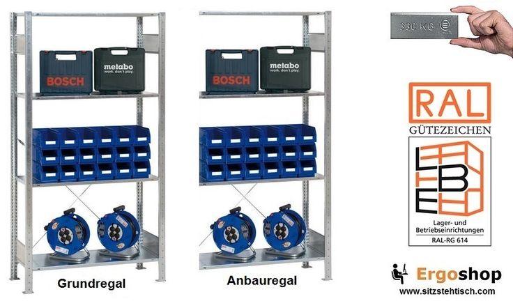 Fachbodenregale einseitig nutzbar verzinkt - 330 Kg pro Fachboden