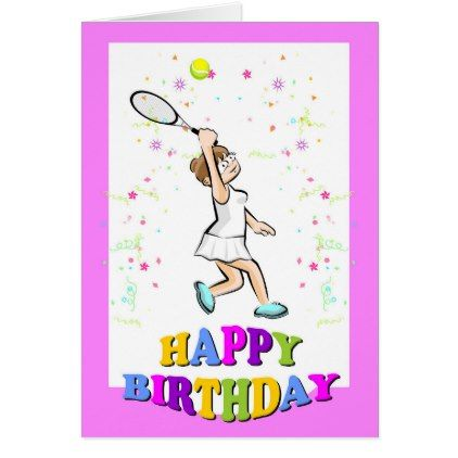 Happy birthday for a beautiful tennis player card - birthday cards invitations party diy personalize customize celebration