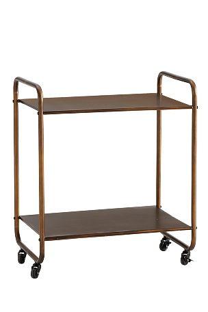 Hylla på hjul med många användningsområden – som sideboard, för förvaring, som serveringsvagn, i badrummet etc. Två hyllplan. Av metall. Stl 60x40 cm. Höjd 70 cm. 44 cm mellan hyllplanen. Lev. omonterad. <br><br>