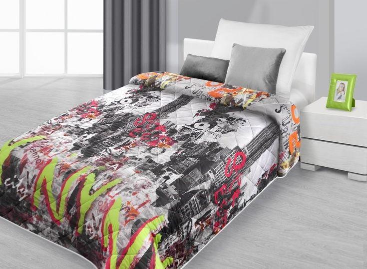 Farebné prehozy na posteľ s motívom veľkomesta
