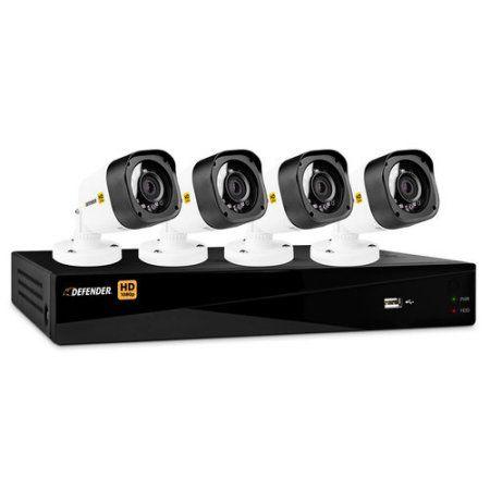 Defender HD 1080p 8-Channel 1TB DVR Security System with 4 Bullet Cameras, Black
