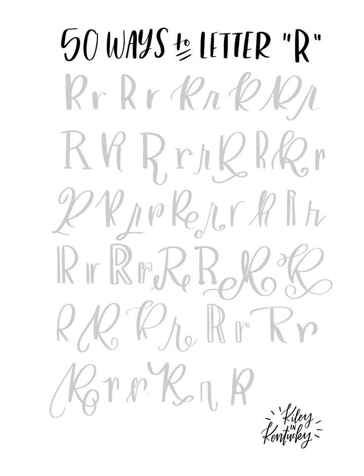 50 ways to letter r handwriting pinterest 50th for Flowy tattoo fonts