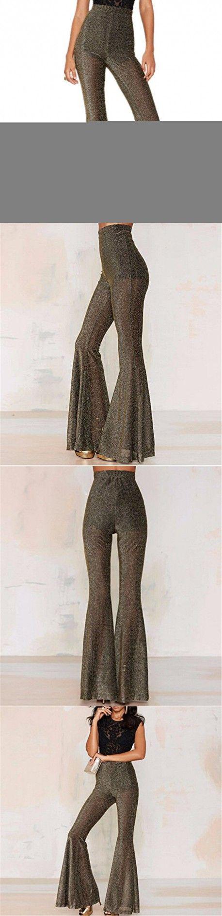 Wiipu Women's Transparent Wide Leg Pants Cut Out Trousers Flare Pants(J887)-Large Goldn