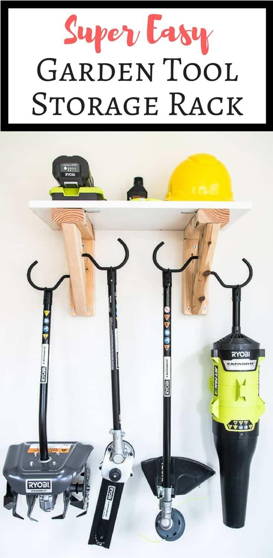 Easy Diy Garden Tool Rack Garden Tool Storage Tool Storage Diy Garden Tool Rack