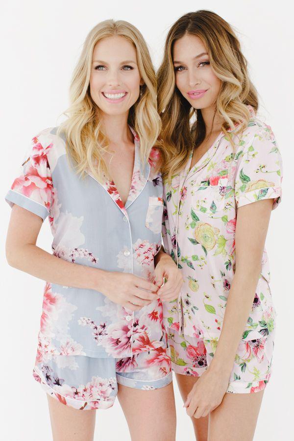 Pastel PJs Bridal Bridesmaid Robes Shortie Sets | Plum Pretty Sugar