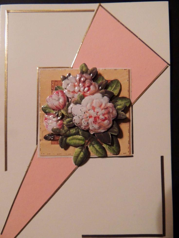 Gratulations kort med blommor gjort i   3D av Cornelia
