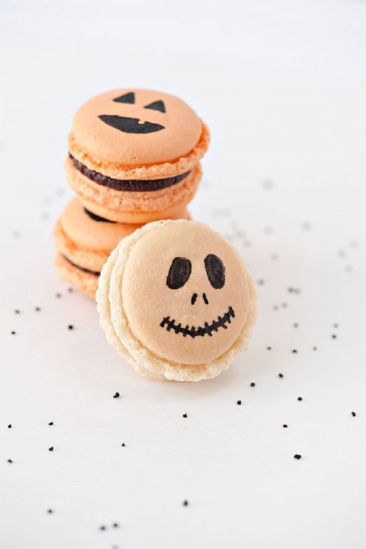 Jack-o-lantern & Skeleton Macarons - 19 Superstitious Halloween Treats to Get Your Scare On