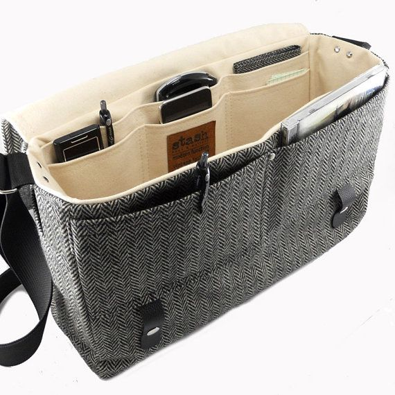 Larger+13+laptop+messenger+bag+with+leather+strap++by+MariForssell,+$239.00