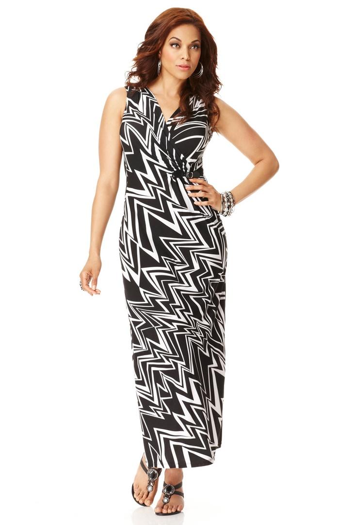 Plus Size Chevron Print Maxi Dress | Plus Size Maxi ...