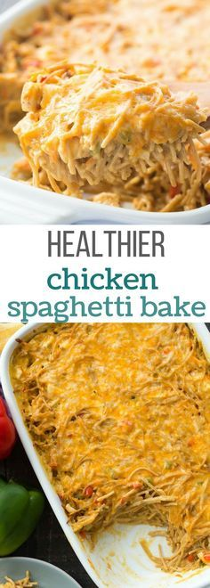 This Healthier Creamy Chicken Spaghetti Bake is a healthier version of a Pioneer Woman classic -- completely homemade with no cream soups! It's an easy make ahead and freezer friendly meal. Includes how to recipe video. | easy recipe | casserole recipe | make ahead | meal prep | kid friendly