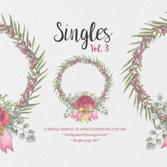 Wreath Clipart  Singles Vol.3  Wedding Clipart  by JessicaOxleyAI