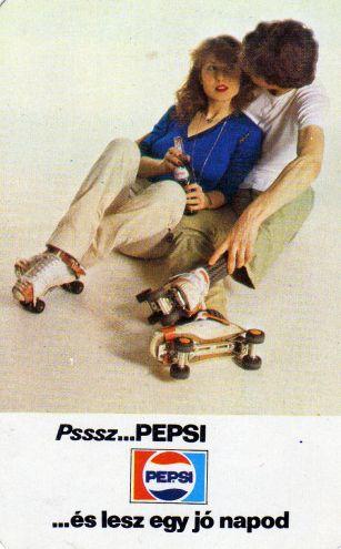 1981 | Kártyanaptárak - Fővárosi Ásványvíz és Jégipari Vállalat (Pepsi) - a régi görkorcsolya a lényeg a képen