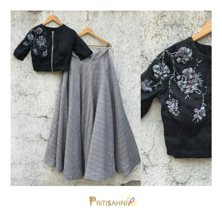 Monochrome ifeGet this chic black crop top with petal and beads floral embroidery paired with grey skirt for a fun evening with friendsFor more information write to info@pritisahni.com 25 April 2017