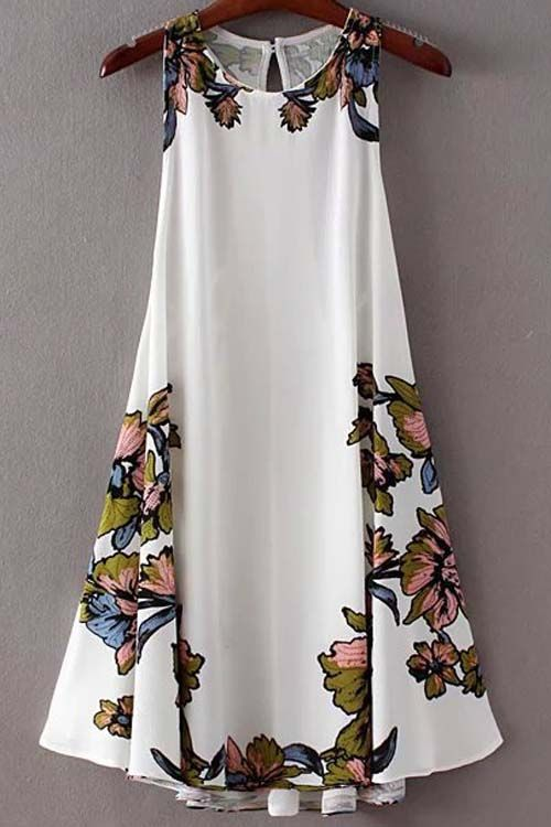 Love Love Love this Dress! Floral Print Round Neck Sleeveless Back Lace Up Dress