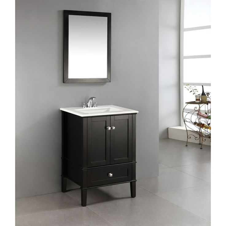 black 24 inch bath vanity with 2 doors bottom drawer and white