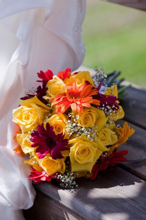 Yellow & Red Wedding Bouquet