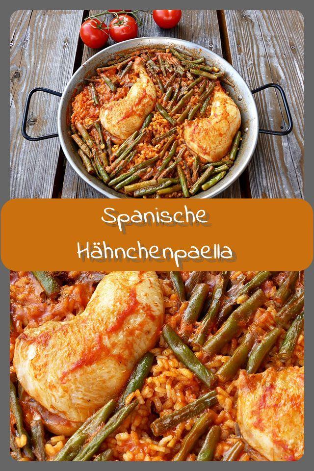 Die perfekte Hähnchen-Paella Hähnchen Paella: Der spanische Klassiker! Ich verwende ich nur Hähnchenkeulen vom Metzger, da Gambas in guter Qualität nur schwer zu bekommen sind.