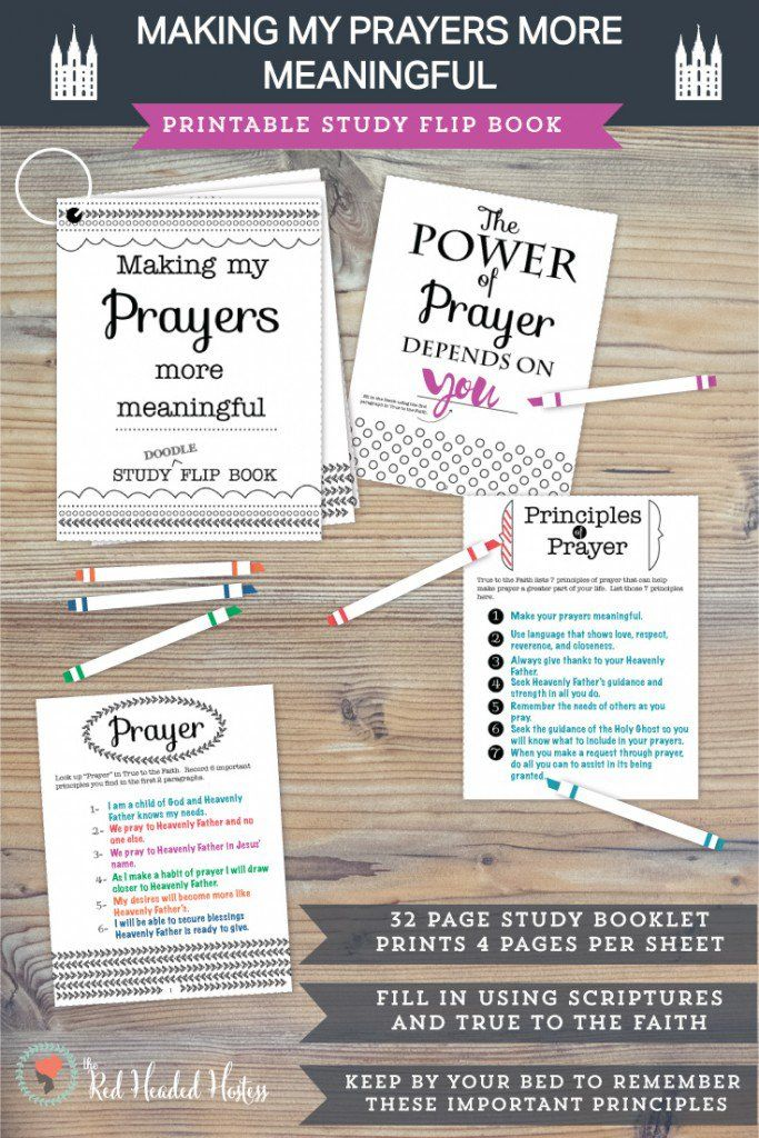 """How can I make my prayers more meaningful?""  This study book is really fun to color and fill in with doctrines and principles from True to the Faith, the scriptures and General Conference talks.  Then you can just keep it by your bed as you develop new habits of prayer.  Goes perfectly with the May young women lessons!  #maycomefollowme #ldsprayerlesson"