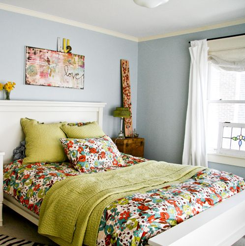 cozy bedroom: i adore kelly rae's artwork above the bed!