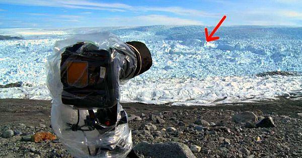 Man richt zijn camera op ijskappen – Seconden later legt hij iets ongelooflijks op video vast!
