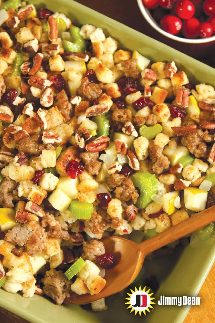 Jimmy Dean premium sausage with signature seasoning, crunchy walnuts and crispy apples…we're not even getting close to all the reasons you should whip this recipe up for you and yours. It's a sure crowd pleaser.