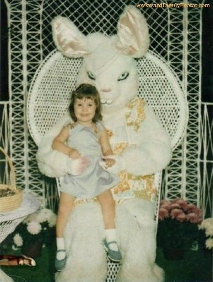 What child didn't love paying a visit to the Demon Easter Bunny right before Easter?: Stuff, Funny, Bunnies, Easter Bunny, Photo, Happy Easter, Kid, Creepy Easter