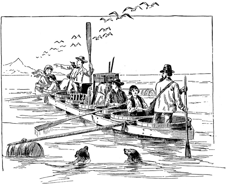 The Swiss Family Robinson In Their Tub Boat From Johann David Wyss Novel