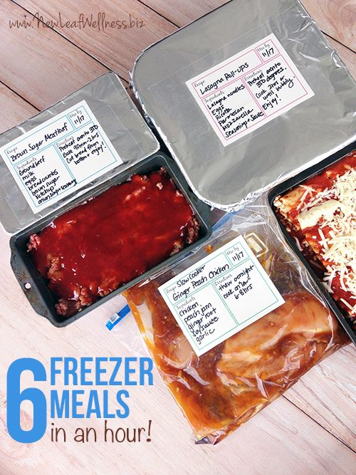 Six freezer meals in an hour (including clean-up!). Here are the recipes, grocery list, and everything you need to know to stock your freezer.