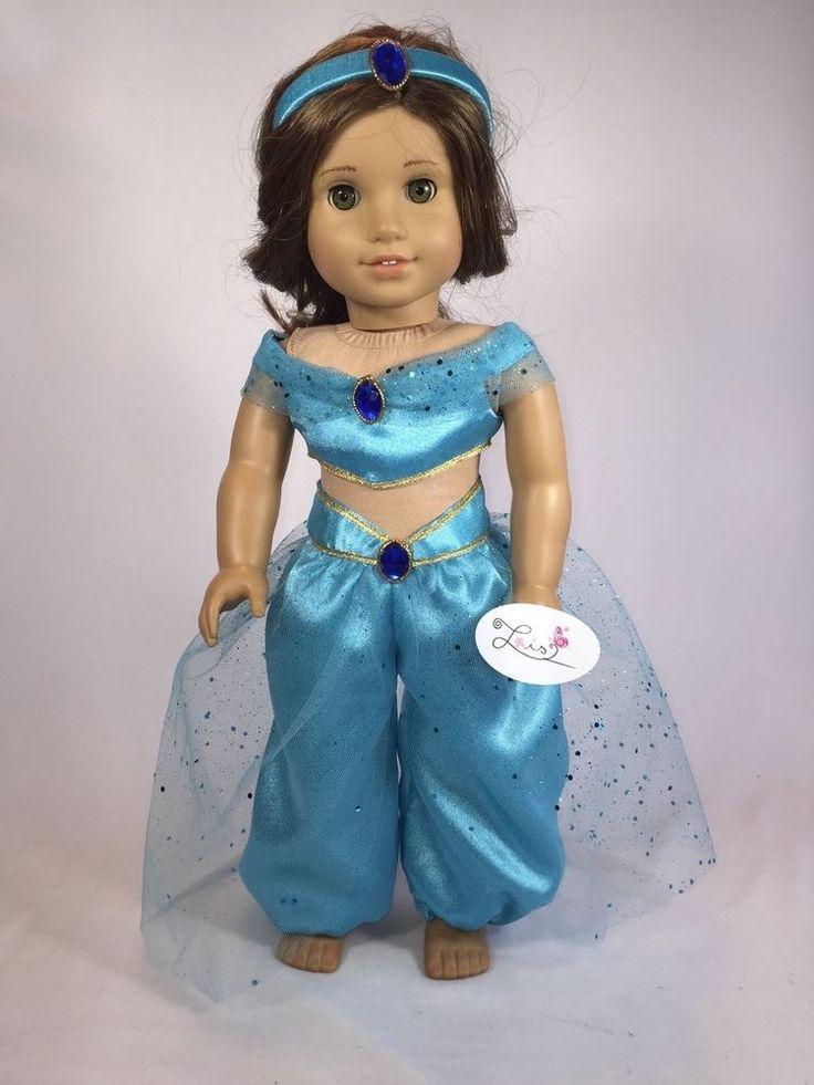 handmade party princess jasmine top pants headband for 18 american girl doll - Halloween Jasmine