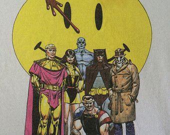 WATCHMEN T-shirt 1988 Vintage/ Original Extremely RARE DC Comics Mini-Series Graphic Novel Book Tshirt/ Superhero Dave Gibbons Art Graphitti