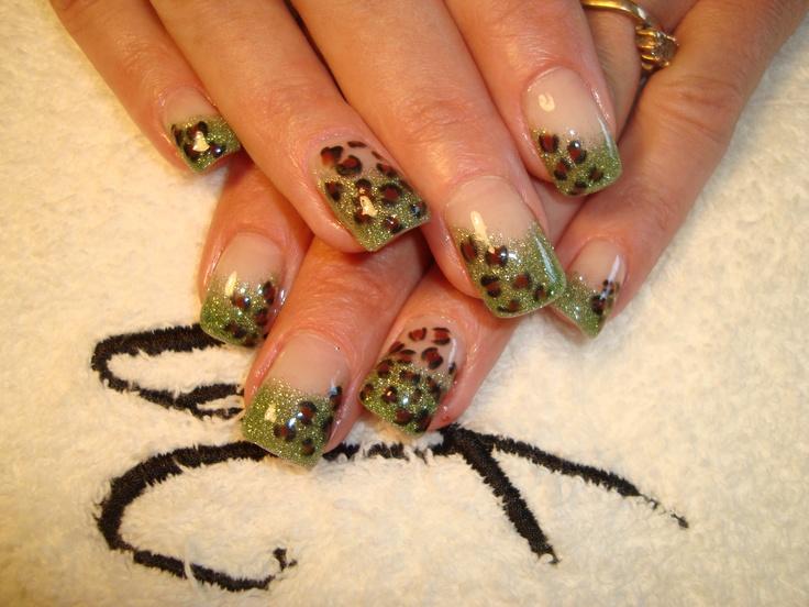 Leopard print on emerald city green glitter