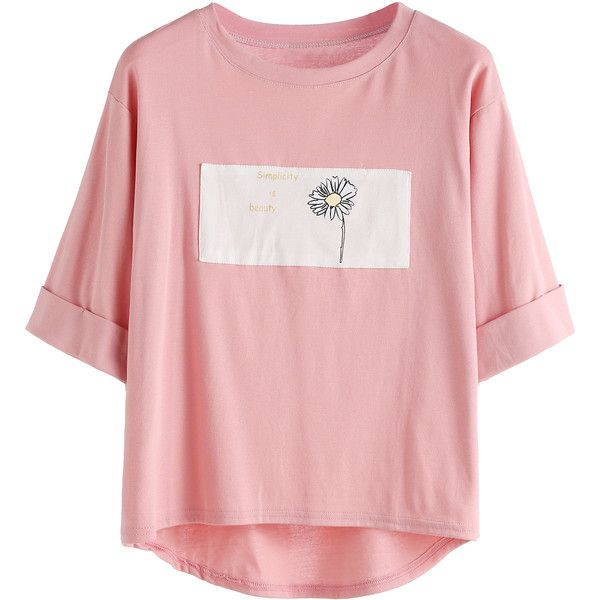 Pink Contrast Daisy Print High Low Cuffed T-shirt ($8.99) ❤ liked on Polyvore featuring tops, t-shirts, pink, pink tee, stretchy t shirts, floral tee, elbow sleeve tops and elbow length sleeve t shirts